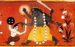 Неистовая Кали после победы над чудовищным Рактабиджей. Минитюра XVIII век