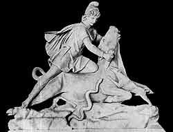 Бог Митра закалывающий быка. III в н э Мрамор